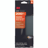 3M 03003 Sandpaper W/D 2000G 3-2/3X9in 5 Pack