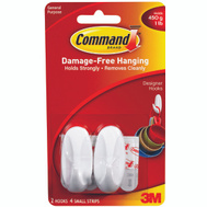 3M 17082 Command Decorating Hooks, With Adhesive, White, 2 Pack