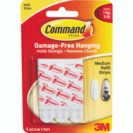 3M 17021P Command Mounting Strips, Medium, 9 Pack