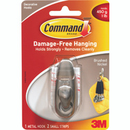 3M FC11-BN Command Decorating Hook, With Adhesive, Small, Brushed Nickel