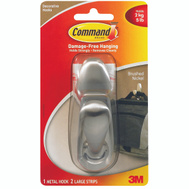 3M FC13-BN Command Decorating Hook, With Adhesive, Large, Brushed Nickel