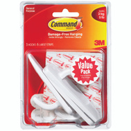 3M 17003-3ES Command Utility Hooks, With Adhesive, Large, White, 3 Pack