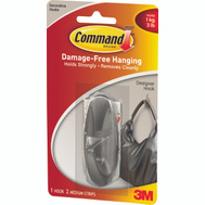 3M 17081BN Command Designer Hook, With Adhesive, Medium, Brushed Nickel