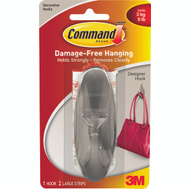 3M 17083BN Command Designer Hook, With Adhesive, Large, Brushed Nickel