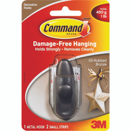 3M FC11-ORB Command Decorative Hook, With Adhesive, Small, Oil Rubbed Bronze