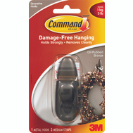 3M FC12-ORB Command Decorative Hook, With Adhesive, Medium, Oil Rubbed Bronze
