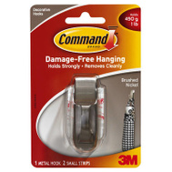 3M MR01-BN-ES Command Modern Reflections Hook, With Adhesive, Small, Brushed Nickel