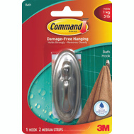 3M 17051BN-B Command Designer Bath Hook, With Adhesive, Medium, Brushed Nickel