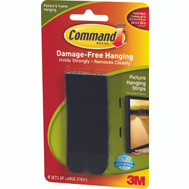 3M 17206BLK Command Picture Hanging Strips, Large, Black