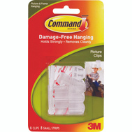 3M 17210 Command Picture Clips, With Adhesive, 6 Pack
