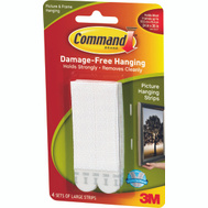 3M 17206 Command Picture Hanging Strips, Large, White Pack Of 4