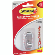 3M 17062BN Command Designer Hook, With Adhesive, Small, Brushed Nickel