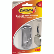 3M 17071BN Command Designer Hook, With Adhesive, Medium, Brushed Nickel