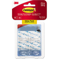 3M 17006CLR-18ES Command 18 Mini Clear Hooks With 24 Strips