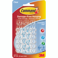 3M 17026CLR Command Clear Damage Free Decorating Clips Pack Of 20