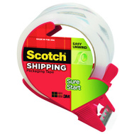 3M 3450S-RD Sure Start Clear Shipping Packaging Tape With Dispenser 1.88 Inch 38.2 Yards