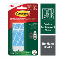 3M 17615AW-ES Command Command Outdoor Foam Strip Refills, White, 4-Medium And 2-Large Strips