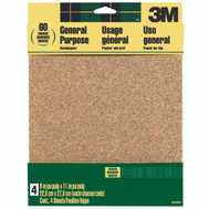 3M 9003NA Sand Blaster Aluminum Oxide Sandpaper Sheets, 60 Grit, 9 Inch By 11 Inch, 4 Pack