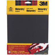 3M 9084NA Wet or Dry 600 Grit, 9 Inch By 11 Inch, Waterproof Silicone Carbide Sandpaper, 5 Pack