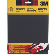 3M 9086NA Wet or Dry 320 Grit, 9 Inch By 11 Inch, Waterproof Silicone Carbide Sandpaper, 5 Pack