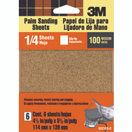 3M 9221ES Palm Sander Sheets, Clip On, 100 Grit, 4-1/2 Inch By 5-1/2 Inch, 6 Pack