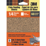 3M 9222ES Palm Sander Sheets, Clip On, 60 Grit, 4-1/2 Inch By 5-1/2 Inch, 6 Pack