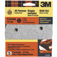 3M 9310 Hookit 5 Inch 5 Hole Hook And Loop Sanding Discs 40 Grit Extra Coarse 5 Pack