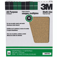 3M 88591 Aluminum Oxide Sandpaper Paint And Rust Removal 9 By 11 Inch 60D Grit