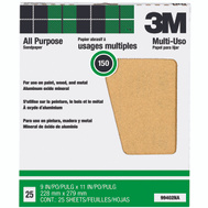 3M 99402NA Aluminum Oxide Sandpaper 9 By 11 Inch 150C Grit