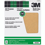 3M 99404NA Aluminum Oxide Sandpaper 9 By 11 Inch 100C Grit