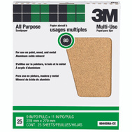 3M 99405NA Aluminum Oxide Sandpaper 9 By 11 Inch 80D Grit