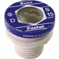 Cooper Bussmann BP/S-15 Heavy Duty Dual Element Tamper Proof 15 Amp S Plug Fuses 2 Pack