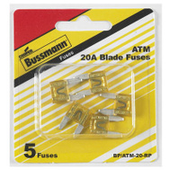 Cooper Bussmann BP/ATM-20-RP Mini Automotive Blade Fuse 20 Amp ATM-5 Pack
