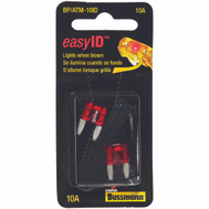 Cooper Bussmann BP/ATM-10ID Easy ID Easy-Id ATM-Illuminating Automotive Blade Fuses 10 Amp 2 Pack