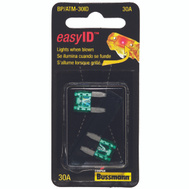 Cooper Bussmann BP/ATM-30ID Easy ID Easy-Id ATM-Illuminating Automotive Blade Fuses 30 Amp 2 Pack