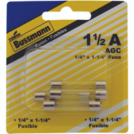 Cooper Bussmann BP/AGC-1-1/2-RP Automotive Glass Tube Fuses 1-1/2 Amp AGC 5 Pack