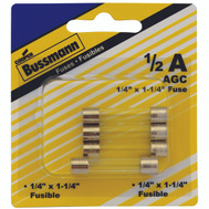 Cooper Bussmann BP/AGC-1/2-RP Automotive Glass Tube Fuses 1/2 Amp AGC 5 Pack