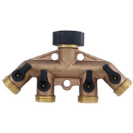 Fiskars 44GT Green Thumb 4 Way Brass Garden Hose Manifold