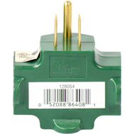 Master Electrician KAB3FT-1 Green 3 Outlet Grounded Indoor Adapter 15 Amp