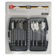 Master Mechanic 158842 8 Piece Flat Spade Wood Bit Set 1/2 To 1-1/2 Inch