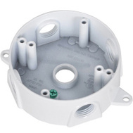 Hubbell BRD-4-W Master Electrician White Weatherproof Round Outlet Box