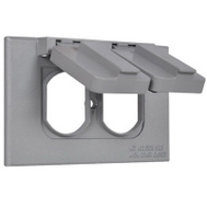 Hubbell 1C-DH-AL Master Electrician Gray Weatherproof Horizontal Duplex Cover