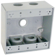 Hubbell TGB50-5 Master Electrician Gray 2 Gang Outlet Box With 5 1/2 Inch Holes