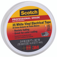 3M 35 WHT Scotch Electrical Tape Vinyl White 3/4 Inch By 66 Foot