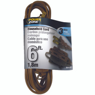 Power Zone OR670606 Cord Ext Indr 16/2Sptx6ft Brn