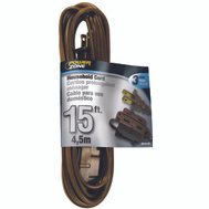 Power Zone OR670615 Cord Ext Indr 16/2Sptx15ft Brn