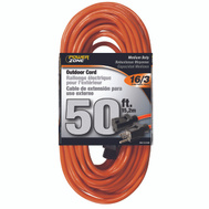 Power Zone OR501630 50 Foot 16/3 Outdoor Orange Vinyl Extension Cord