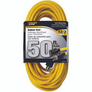 Power Zone OR500830 Cord Ext Outdoor 12/3X50ft Yel