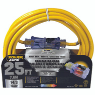 Power Zone ORP511725 Cord Ext 14/3 Sjtow X 25Ft Yel