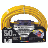 Power Zone ORP511730 Cord Ext 14/3 Sjtow X 50Ft Yel